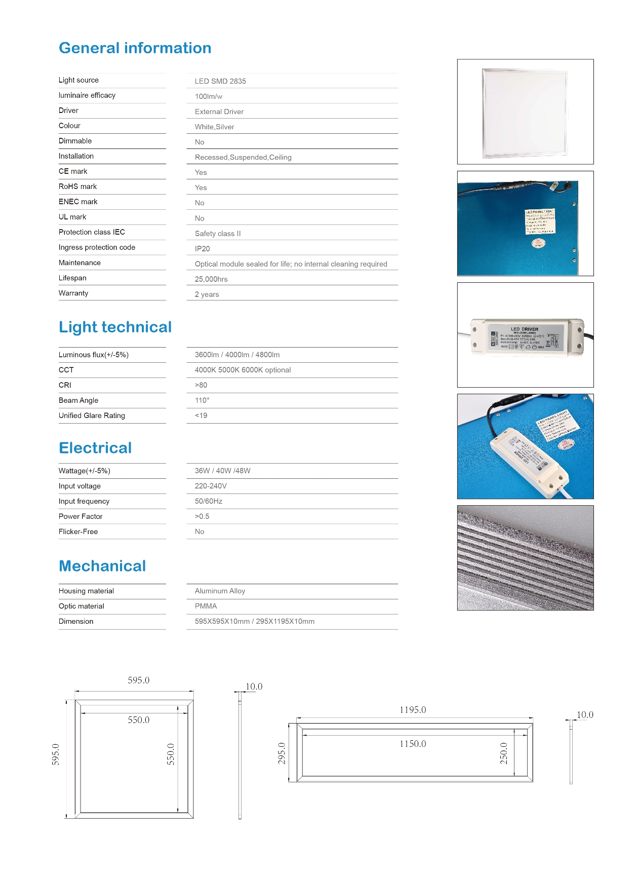 LED Panel Light 600×600 100lm/w Eco Series-TIECO