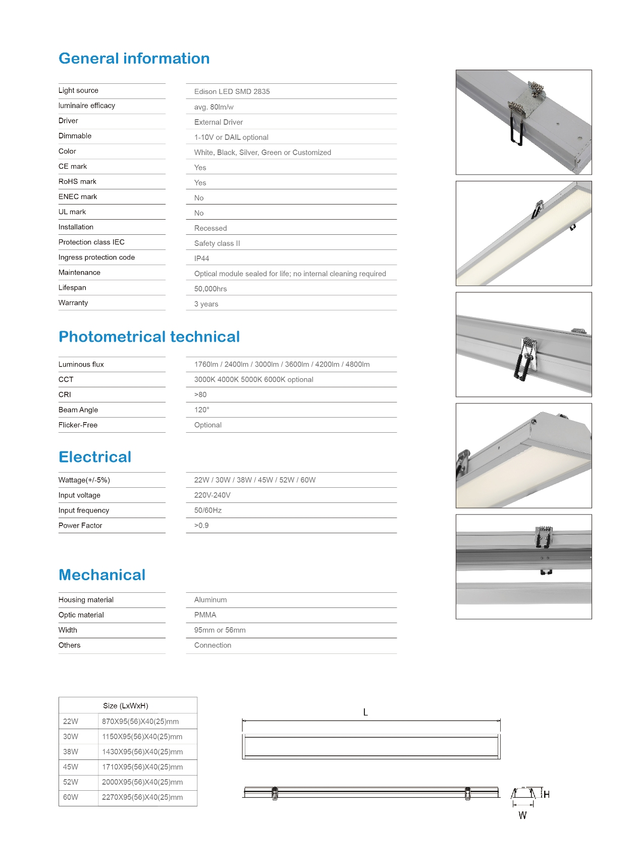 LED Linear Lighting Recessed 95mm Width-TIECO