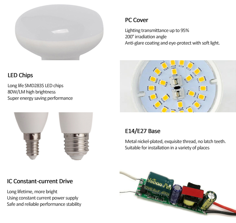 R39 R50 LED Bulb 5W 7W E14 LED Lights Bulbs-TIECO